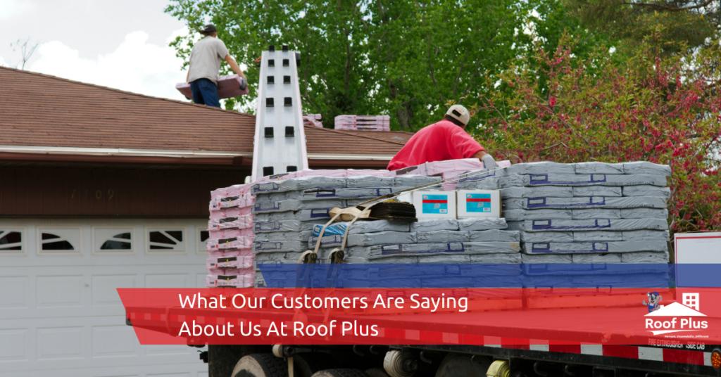 Roof Plus contractors service a client's roof.