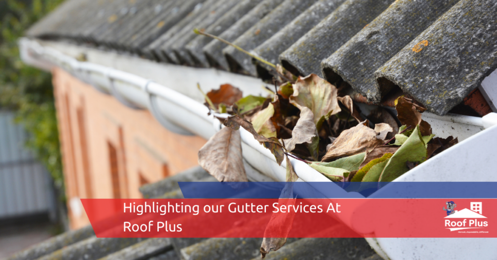 A home's dirty gutters filled with leaves.