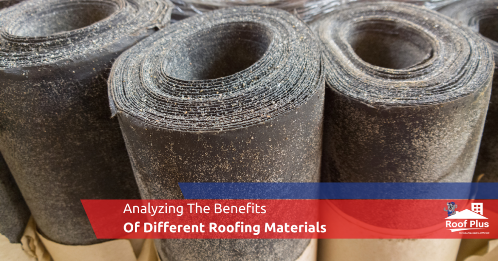 Several bundles of roofing materials.